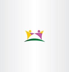 people holding hands purple yellow logo vector image
