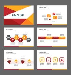 Red orange presentation templates Infographic set vector image vector image
