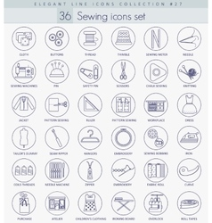 Sewing outline icon set Elegant thin line vector image vector image