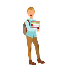 smiling student with school backpack holding vector image vector image