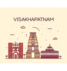 Visakhapatnam skyline linear style vector image