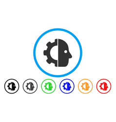 cyborg gear rounded icon vector image vector image