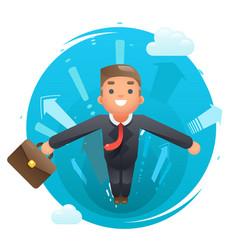 Flying happy cute superhero businessman character vector