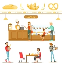 Interior Design And Happy Clients Of A Bakery Set vector image vector image