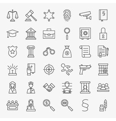 Law and Justice Line Art Design Icons Big Set vector image