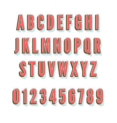 vintage 3D alphabet with shadow and volume vector image