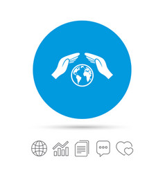 worldwide insurance sign hands protect cover vector image vector image