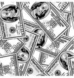 100 dollars bank notes seamless pattern background vector image vector image