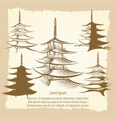 asian pagoda vintage poster vector image vector image