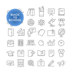back to school outline icon set pictogram set vector image vector image