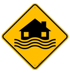 Flood Disaster Yellow Sign vector image vector image