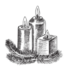 Hand drawn sketch Burning candle christmas vector image