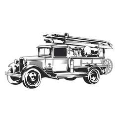 isolated vintage fire truck vector image