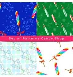 Seamless patterns with twist lollipop vector image vector image