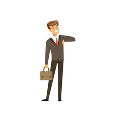 smiling successful businessman character in suit vector image vector image