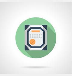Workshop certificate flat round icon vector