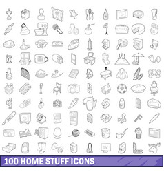 100 home stuff icons set outline style vector