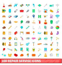 100 repair service icons set cartoon style vector