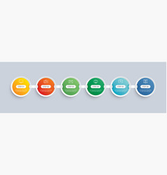 6 circle step infographic with abstract timeline vector image
