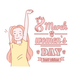 8 march banner or template with young beautiful vector image