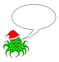 A funny Christmas octopus with a talking bubble vector
