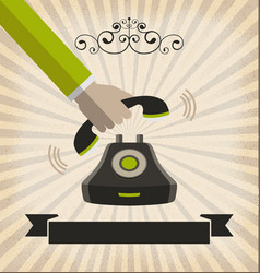 a hand pick up a phone with retro style vector image