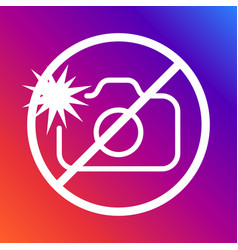 A sign prohibiting photographing with a flash on a vector