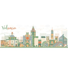 Abstract Valencia Skyline with Color Buildings vector