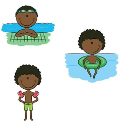 African-American swimmer boys vector