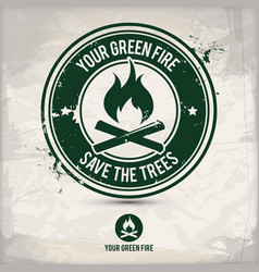alternative green fire stamp vector image