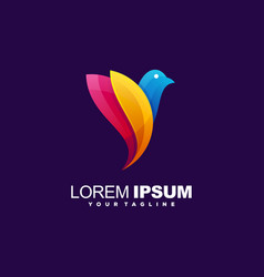 awesome gradient bird logo design vector image