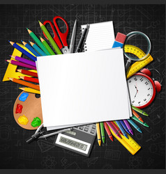 Back to school school supplies and blank paper vector