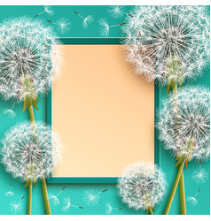 Background with frame and dandelions vector