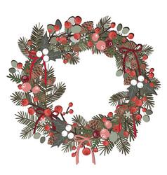 beautiful christmas decorative wreath pine vector image