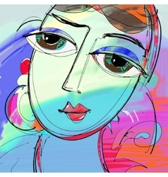 beautiful women digital painting abstract vector image