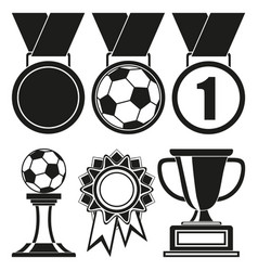 Black and white 6 elements award silhouette set vector
