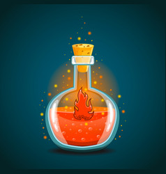 Bottle of magic elixir with flame vector