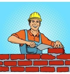 Builder pop art style vector