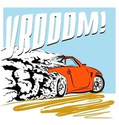 Car comics speeding across road vector