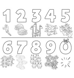 Cartoon numbers set with animals color book vector