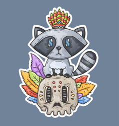 cartoon raccoon sits on the skull vector image