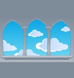 Castle window view on blue sky vector
