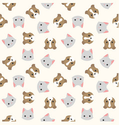 cat and dog head seamless pattern for wallpaper vector image