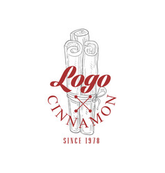 Cinnamon logo since 1978 culinary spice retro vector