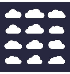 Cloud Icon Set on Dark Background vector image