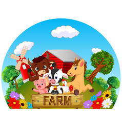 Collection animal in the farm vector