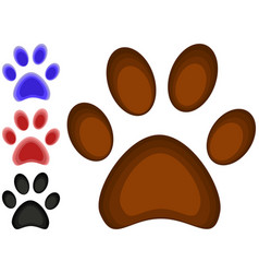 colorful cartoon cat paw footprint icon set poster vector image