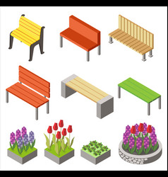 colorful design arranged isometric icons vector image