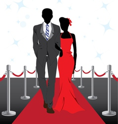 Couple on red carpet vector