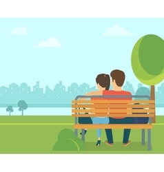 Couple outdoors in the park sitting on bench and vector image